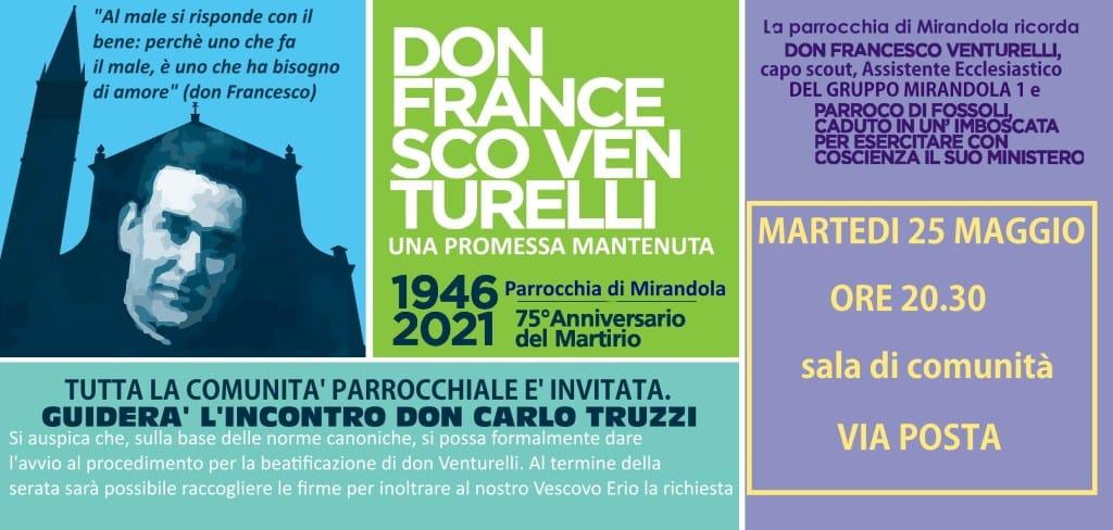 Mirandola, incontro su don Francesco Venturelli