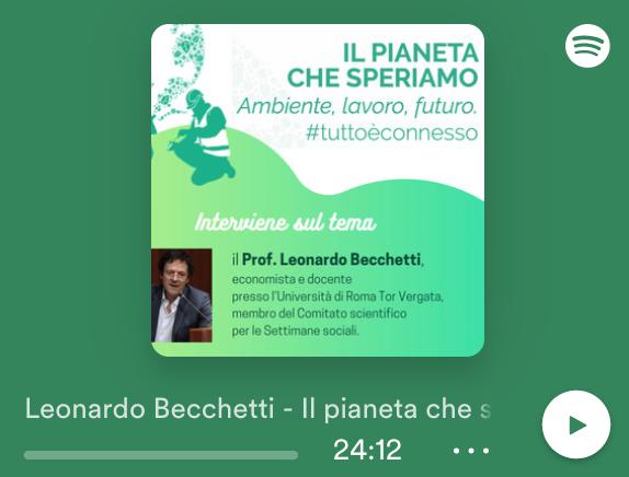 Disponibile su Spotify la lezione di Leonardo Becchetti