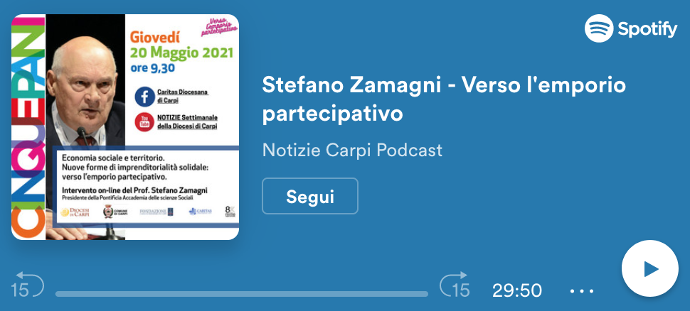 Online le registrazioni dell'intervento di Stefano Zamagni