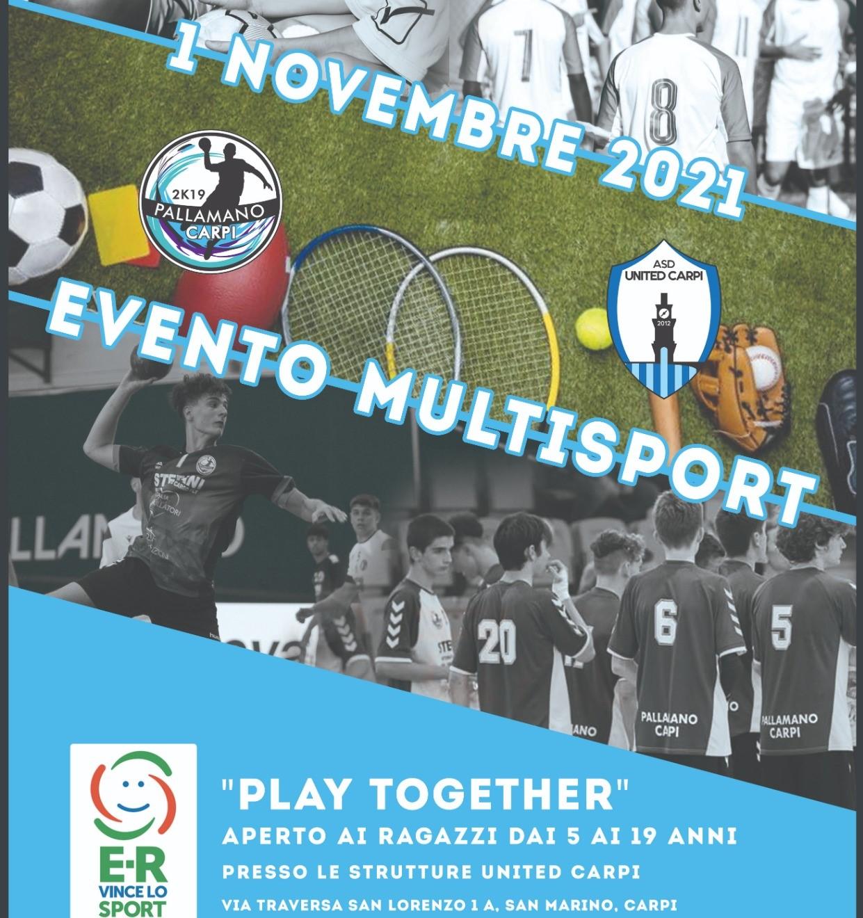 """Pallamano Carpi e United Carpi insieme nell'evento multisport """"Playtogether"""""""